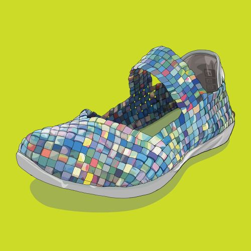 Artwork of Bernie Mev Cuddly Slip-On for Arthritis Today magazine
