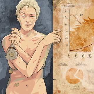 illustration of Cersei explaining the economic crisis