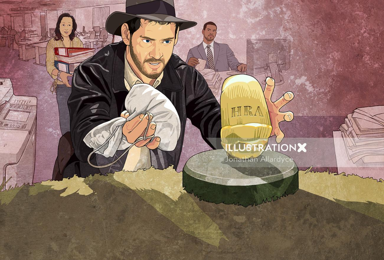 Illustration of a familiar scene from Raiders of the Lost Ark