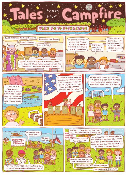 Ilustración cómica de cuentos de la fogata.