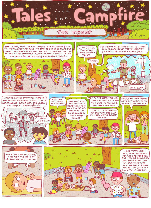 Illustration de bande dessinée de prend forme le feu de camp