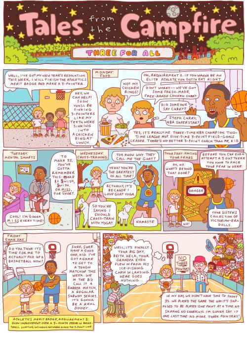 Ilustración de fogata infantil