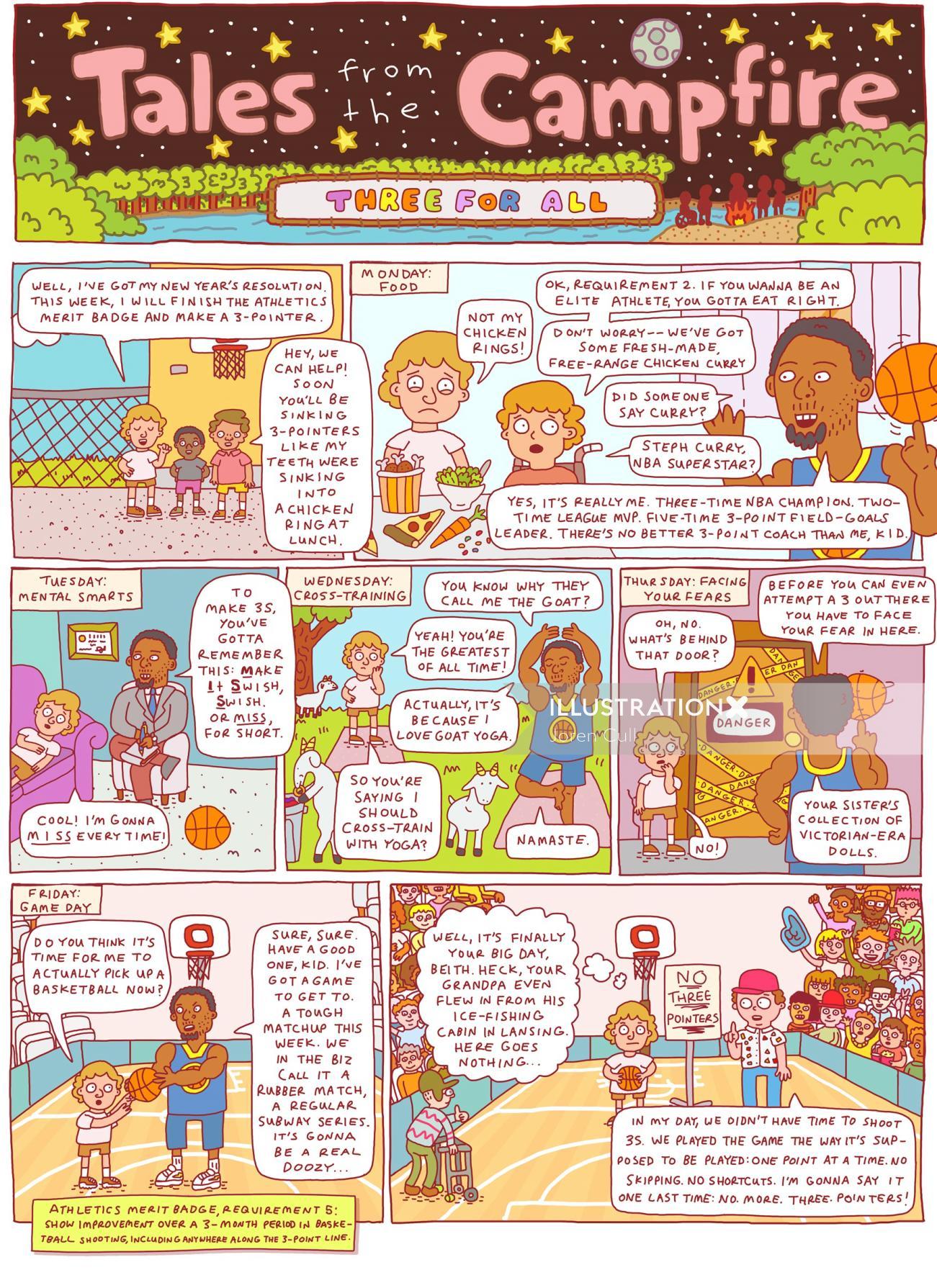 Illustration of children campfire