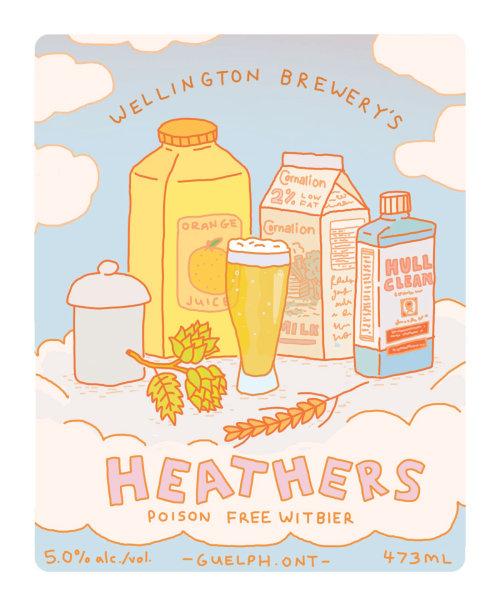 Ilustración publicitaria de bebidas brezos.