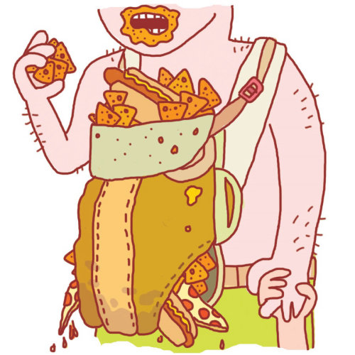 Cartoon illustration of foodie man