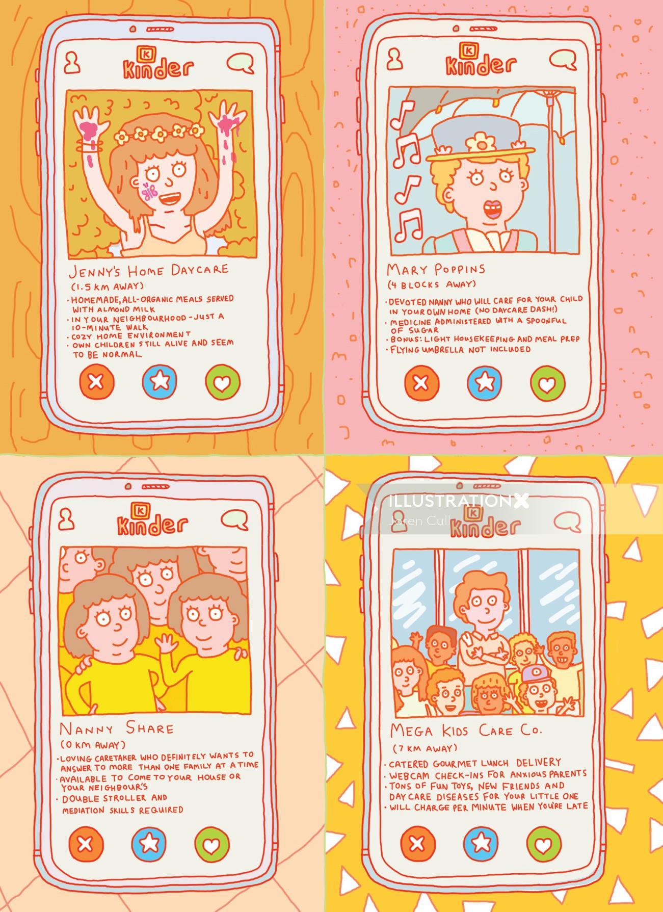 Illustration of child care