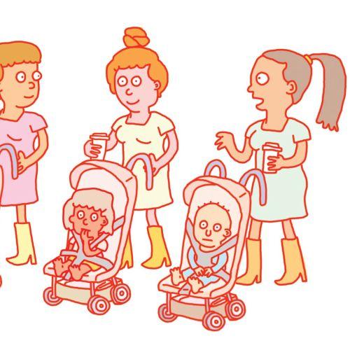 Digital illustration of children caretaker