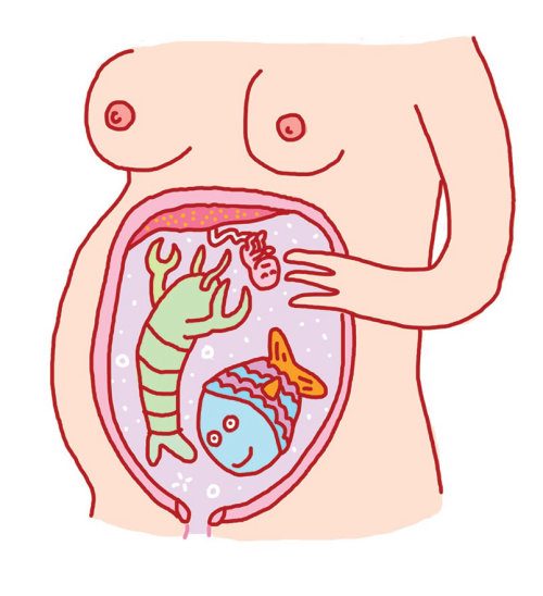 Comic illustration f fish inside stomach