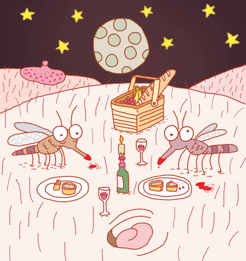 Small creatures collecting food illustration