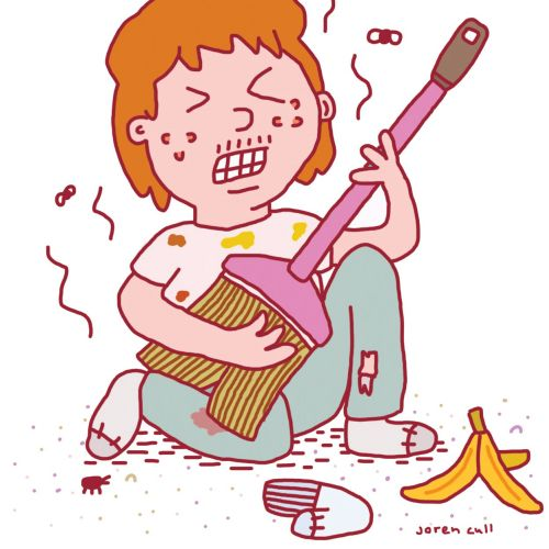 Cartoon illustration of playing guitar for  March's Readers Digest