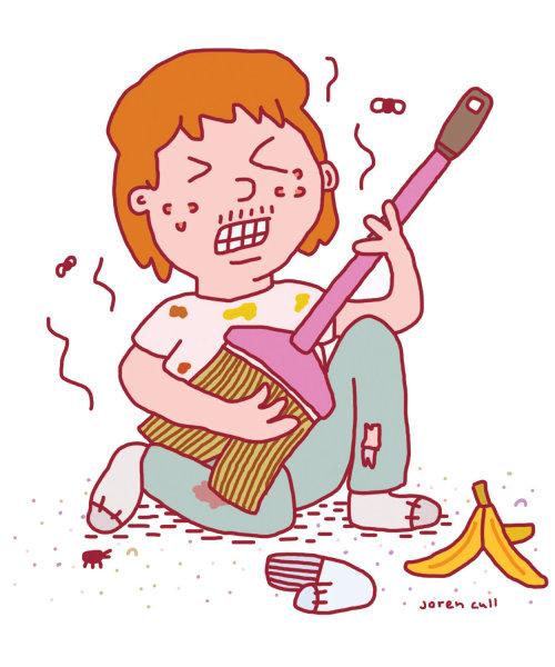Ilustración de dibujos animados de tocar la guitarra para el Readers Digest de marzo