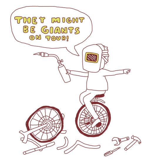 Ilustración cómica de podrían ser gigantes de gira