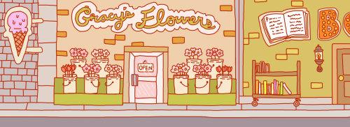 Pintura digital de tienda botánica