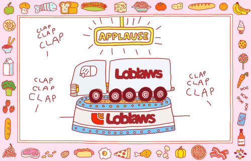 Ilustración para aplaudir a Loblaws por presentar camiones eléctricos