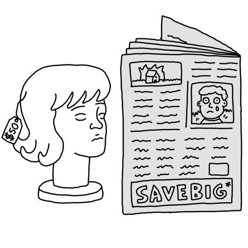 Ilustración de línea ok leyendo el periódico