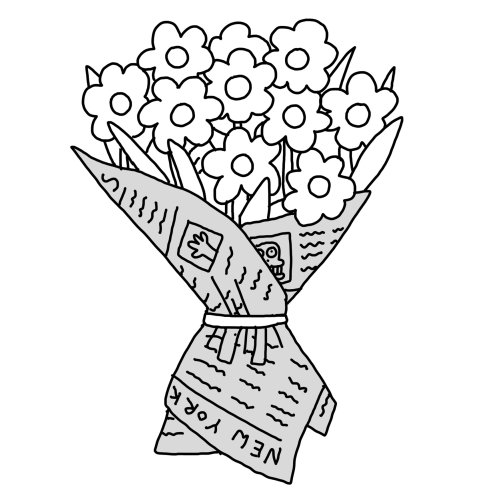 Line illustration of flower bouquet