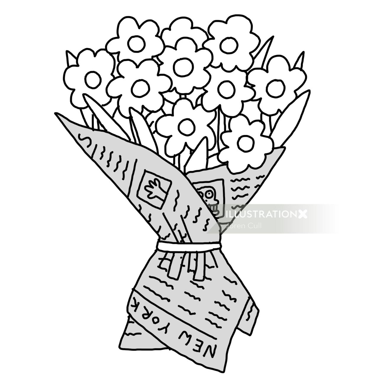 Line illustration of flower bouquet