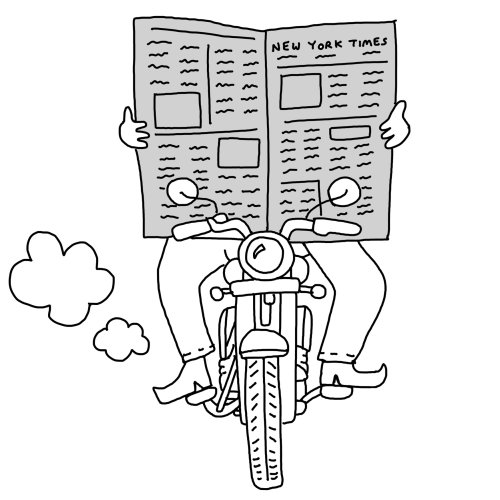Line art of reading newspaper while driving