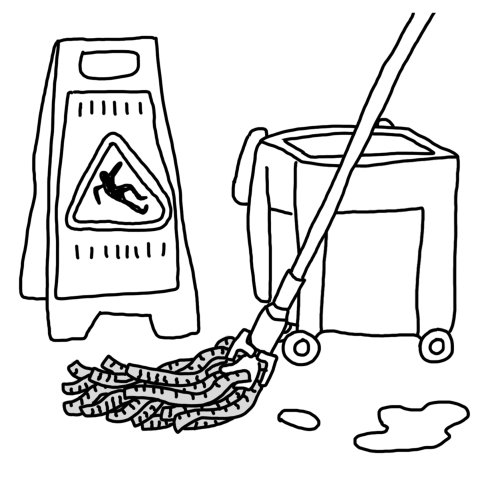 Ilustración en blanco y negro del kit de limpieza