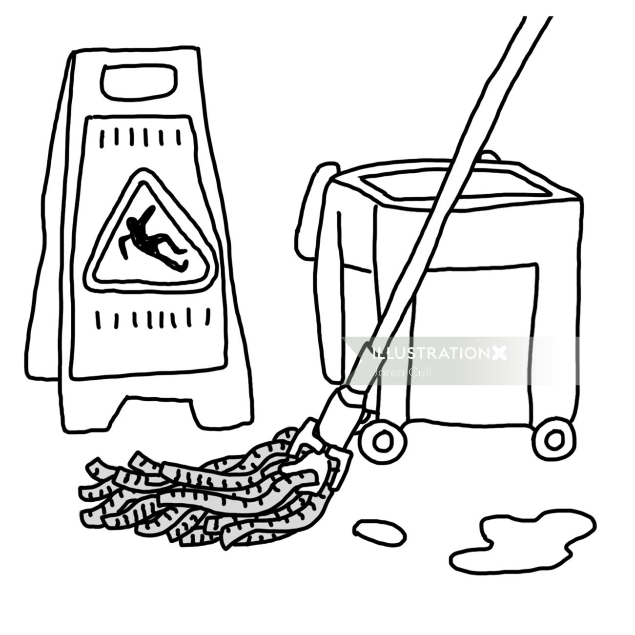Black and white illustration of cleaning kit