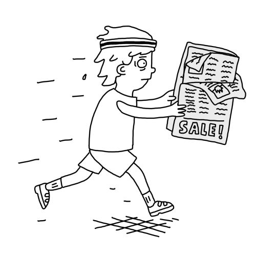 Line drawing of reading newspaper