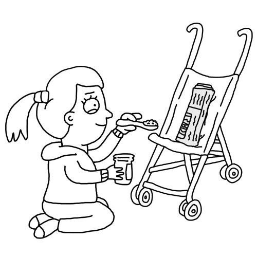 Ilustración de línea de alimentación del bebé