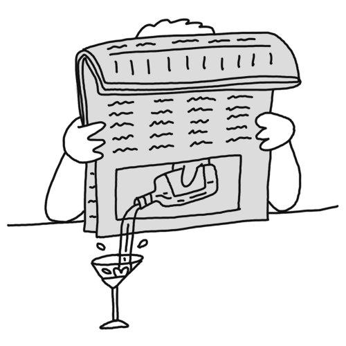 Ilustración de periódico cómico por Joren Cull
