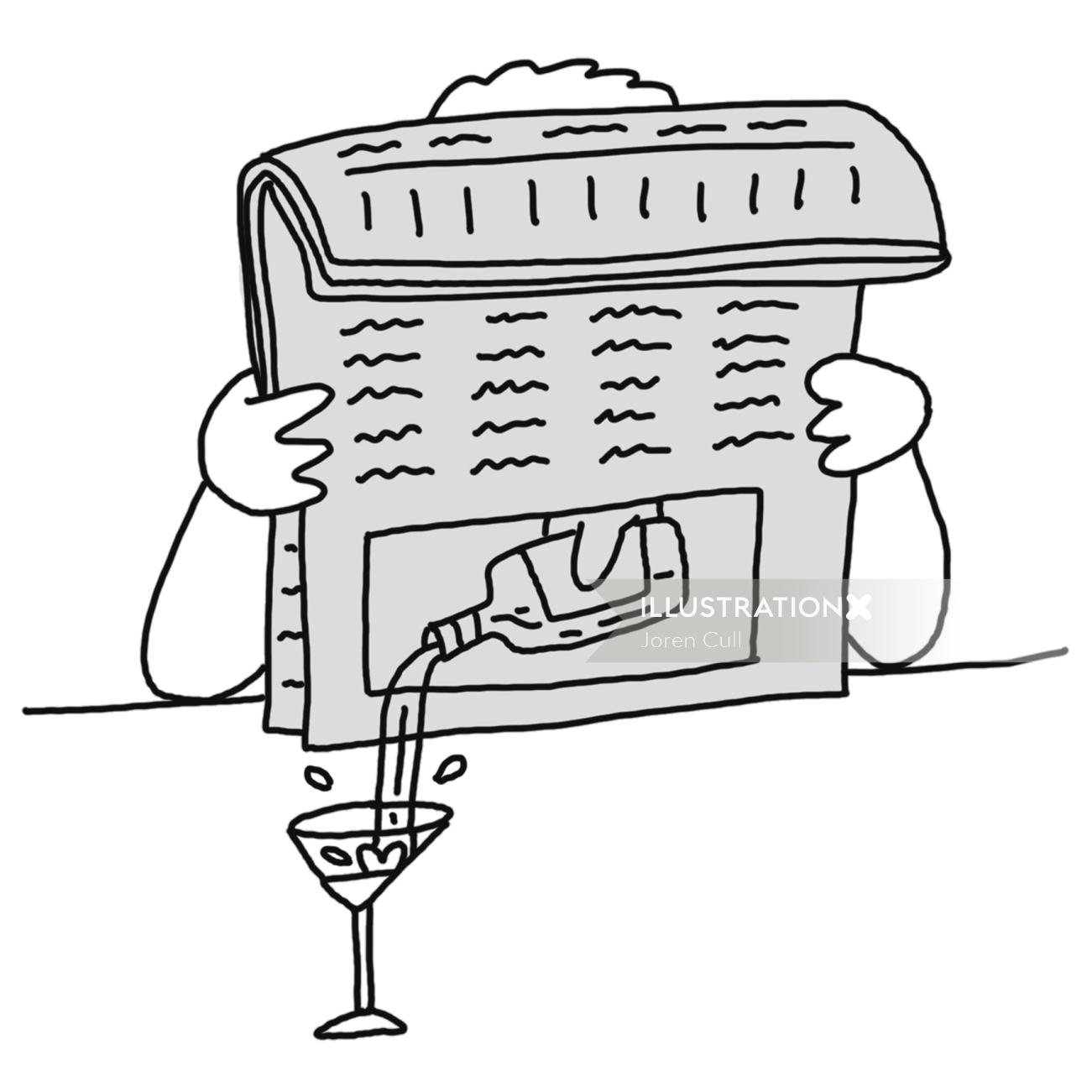 Comic newspaper illustration by Joren Cull