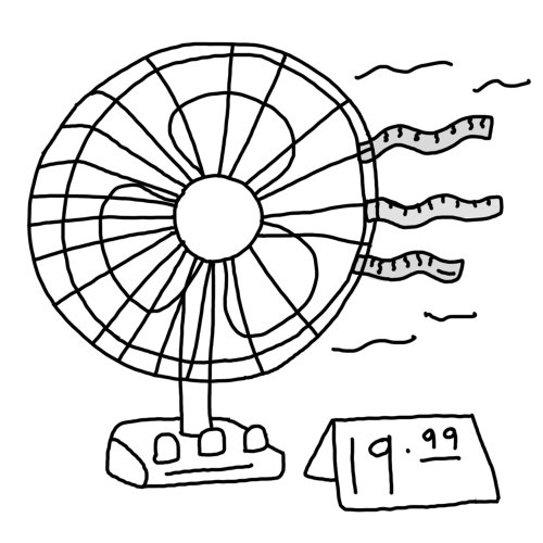 Line drawing of table fan