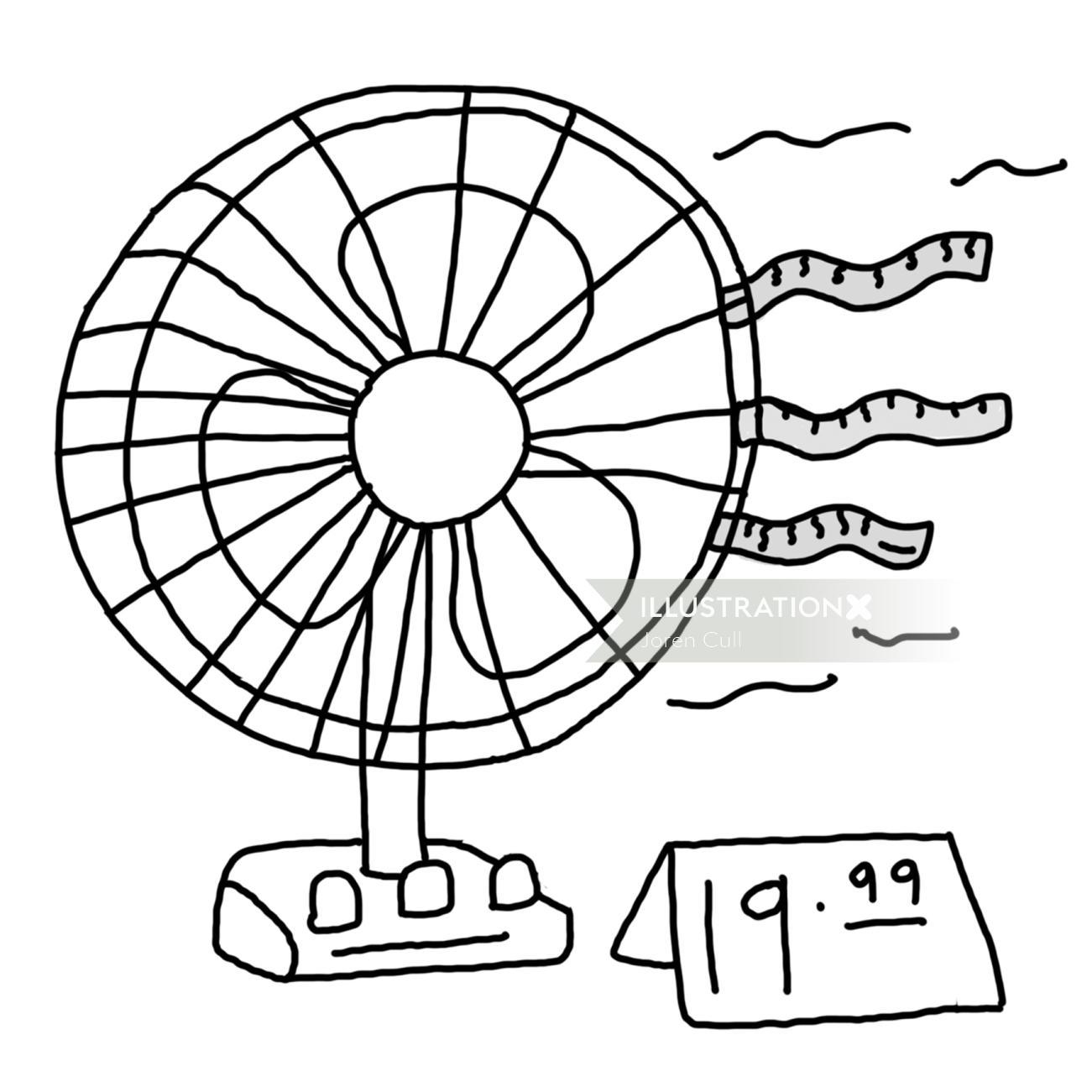 Line drawing of table fan