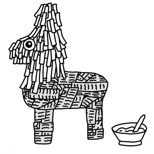 Illustration en noir et blanc de poupée de papier