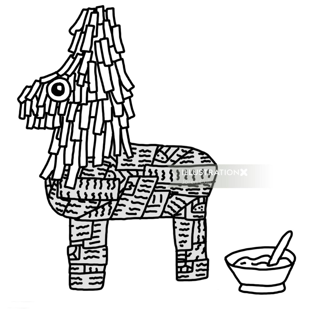 Black and white illustration of paper doll
