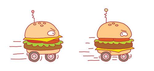 Ilustración para un artículo sobre cadenas de hamburguesas de comida rápida competidoras