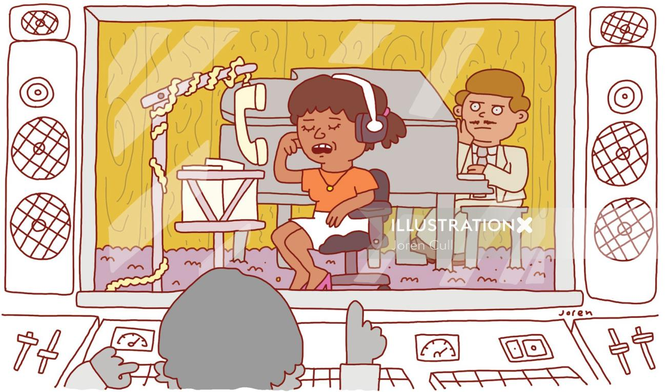 "Illustration for a humor piece about a woman having to record her ""out of office"""