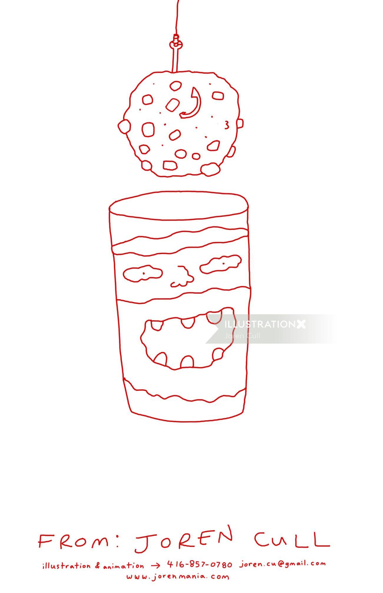 Line comic art of tea cup