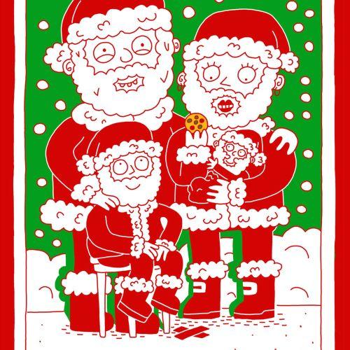 Digital painting of Santa family
