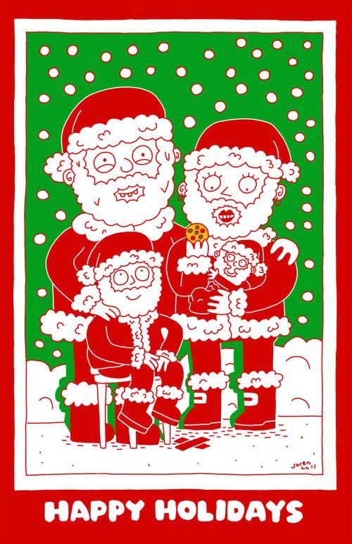 Peinture numérique de la famille Santa