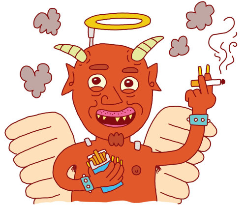 Ilustración cómica del diablo de fumar