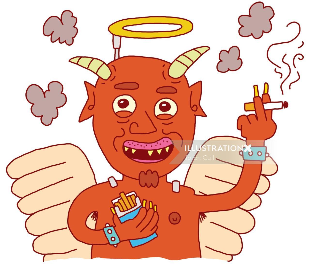 Smoking devil comic illustration