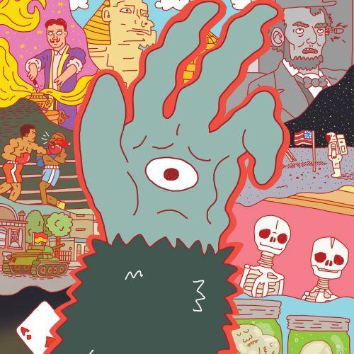 Comic illustration of eye in hand