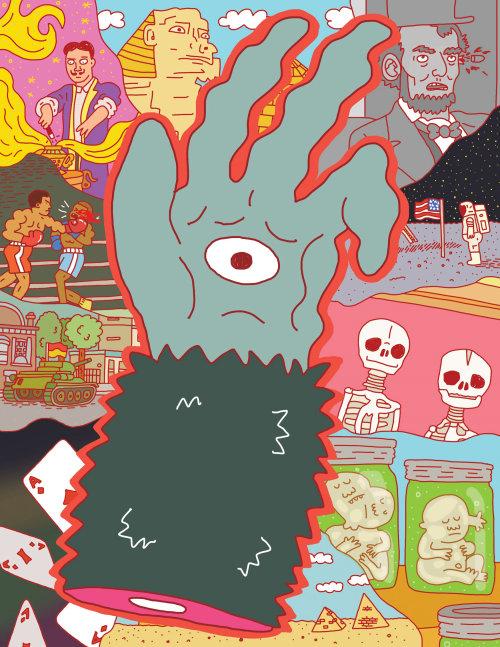 Ilustración cómica de ojo en mano