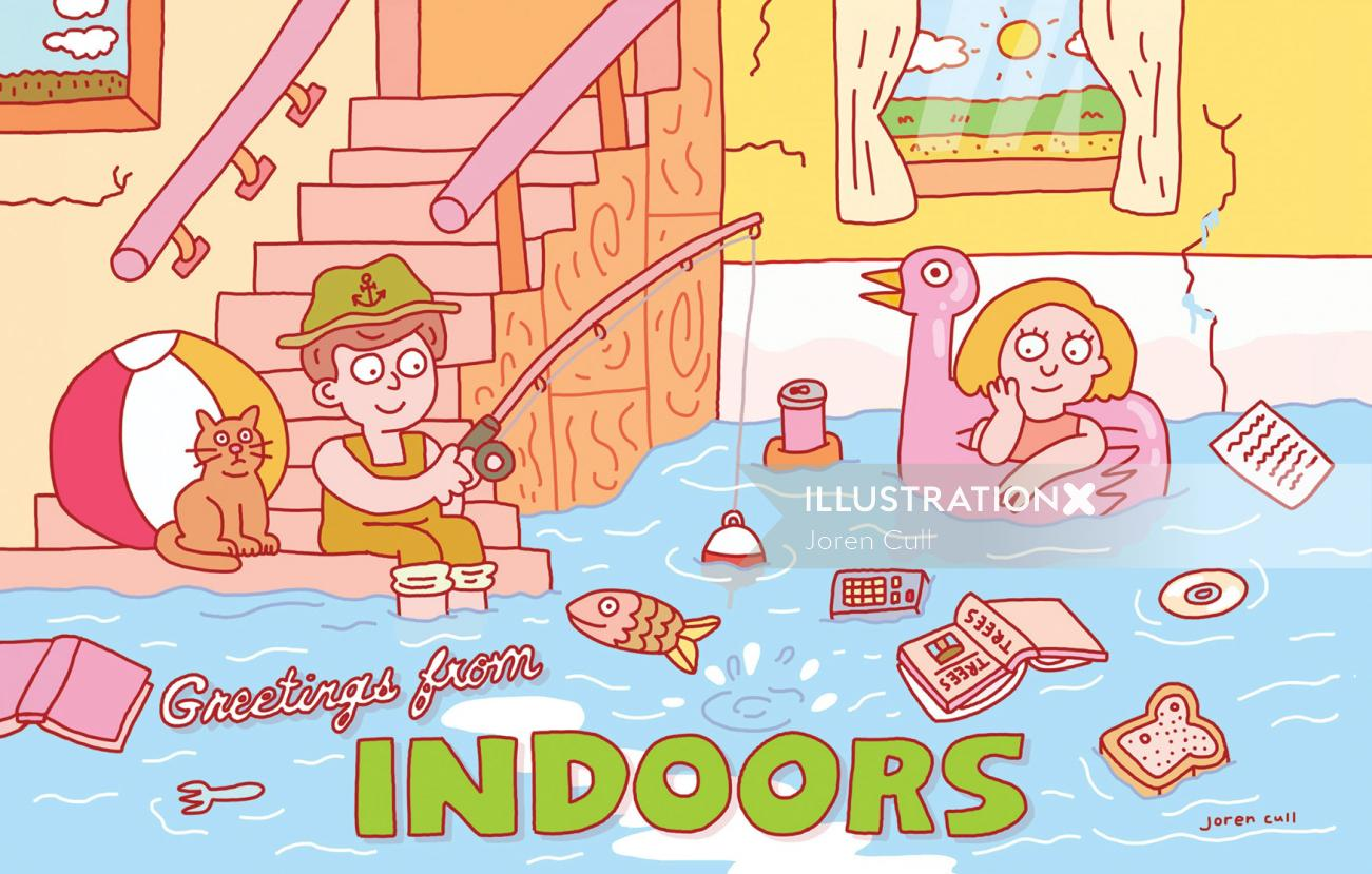 Comic poster design of greetings from indoor