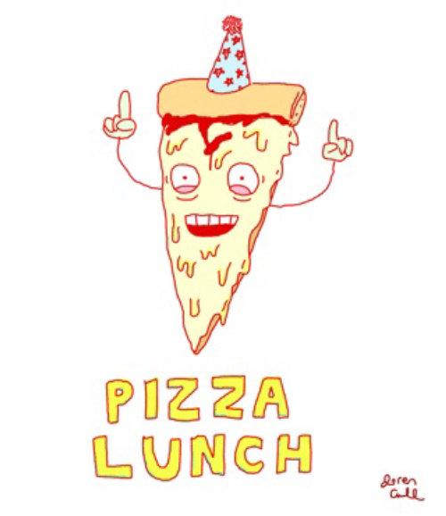 Animación gif de almuerzo de pizza