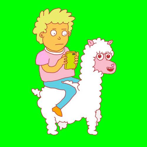 Animation gif à cheval sur la chèvre