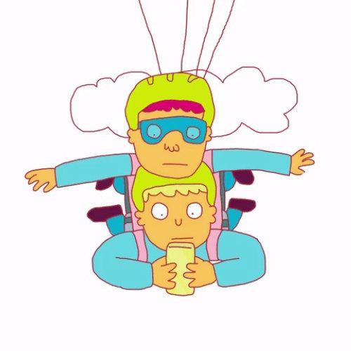 Animation Gif de l'utilisation du téléphone en saut en parachute
