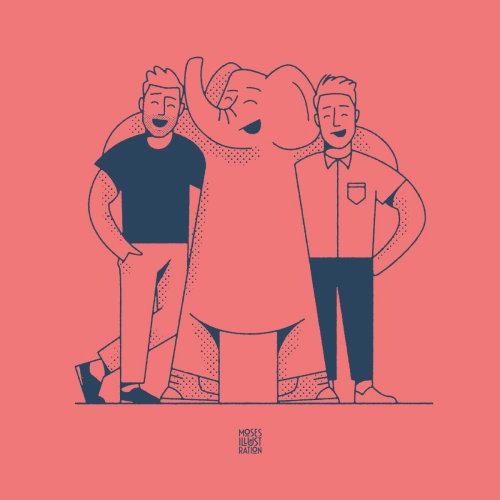 Linha artística de pessoas com elefante