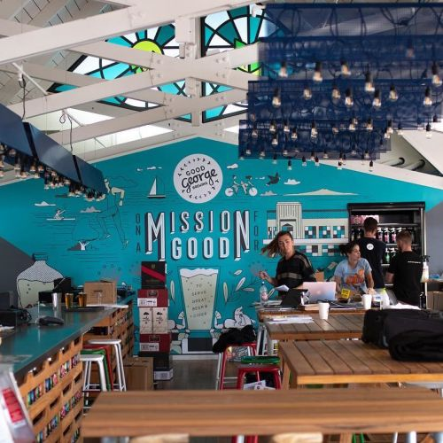 Mural of mission good in restaurant