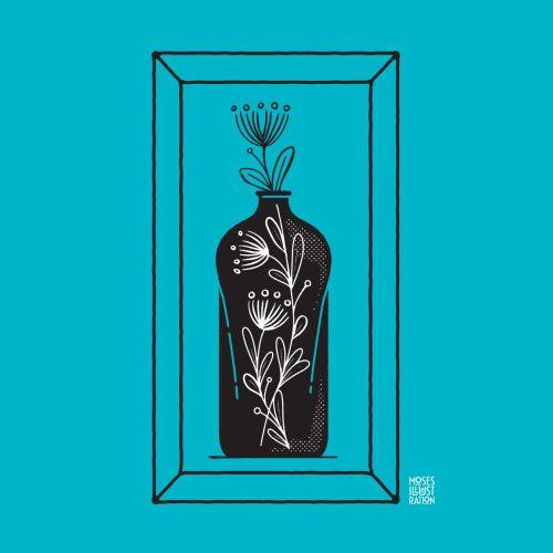 Line art of flower vase