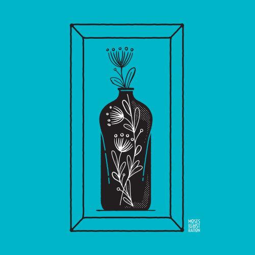 Arte de linha de vaso de flores
