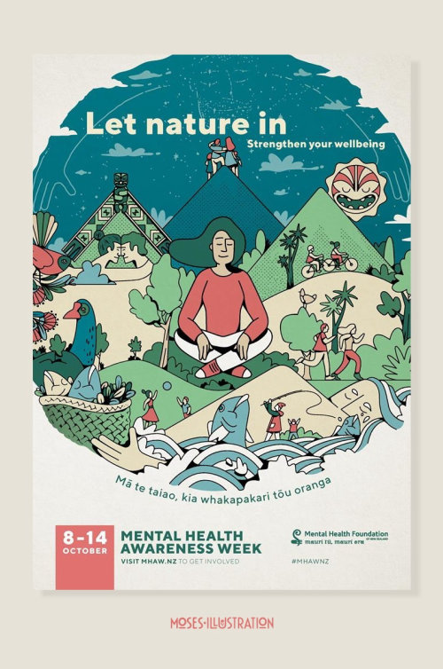 Folheto gráfico da semana de conscientização sobre saúde mental